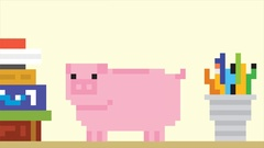 Piggy bank and falling gold coins. Pixel art game style HD finance animation Stock Footage