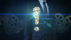 Businessman touching screen, Steel golden gears making Exclamation mark shape. Stock Footage