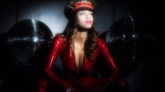 Cute female sexy music disco club lifestyle catsuit military russian Stock Footage