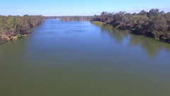 Aerial view of house boat holiday Murray River Australia Stock Footage