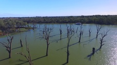 Aerial view of dead gums and house boat holiday Murray River Australia Stock Footage