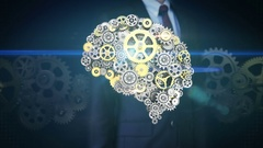 Businessman touching screen, gears making human brain. artificial intelligence. Stock Footage