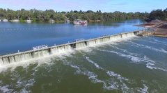 Aerial view of Mildura Weir and Lock 11 Stock Footage