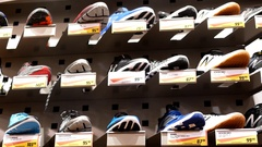 Tilt shot of exposition sport shoes inside sportchek store with 4k resolution Stock Footage