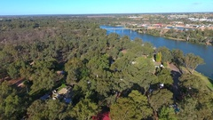 Aerial view of Mildura Wharf featuring Historic PS Paddle Steamer from river tra Stock Footage