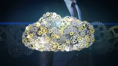Businessman touching Gears making cloud computer server shape. intelligence. Stock Footage