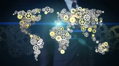 Businessman touching  gears making global world map connect technology.1. Stock Footage