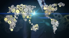 Businessman touching  gears making global world map connect technology.2. Stock Footage