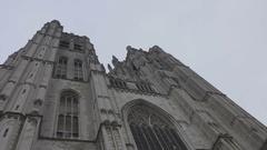 Brussels, Cathédrale Saints-Michel-et-Gudule, Exterior Stock Footage
