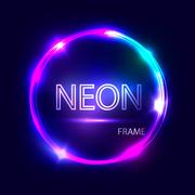 Neon round glowing frame. Electric circle on dark background. Light banner. Stock Illustration