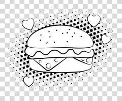 Comic Hamburger with halftone shadows. Fast food background pop art retro style Stock Illustration
