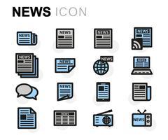 Vector flat news icons set Stock Illustration