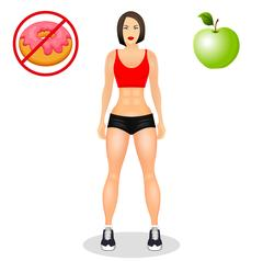 Fitness concept with fit woman in sportswear. Muscular Models cartoon girl Stock Illustration