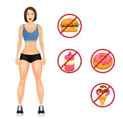 Concept with fit young woman in sportswear. Useful and harmful food. Woman with Stock Illustration