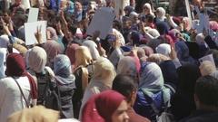 Female university students protest - Jordan protests Israel Stock Footage