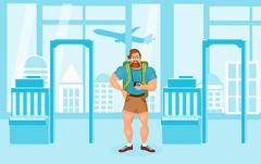 Young Bearded Hipster male in eyeglasses with a packsack travel and camera Stock Illustration