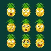 Pineapple Cartoon Emoji Portaraits Fith Different Emotional Facial Expressiona Stock Illustration