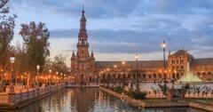 North tower on Plaza de Espana, Seville Stock Footage