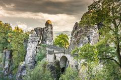 Medieval Bastei Bridge in Saxony Stock Photos