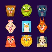 Geometric Shape Flat Cartoon Animals Set Of Colorful Cartoon Isolated Vector Piirros