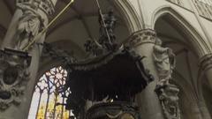 Brussels, Cathédrale Saints-Michel-et-Gudule, Interior Stock Footage