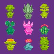 Alien Fantastic Plant Characters With Succulent Vegetation And Humanized Root Stock Illustration