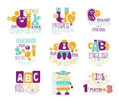 Kids Science Education Extra Curriculum Club Label Templates In Colorful Cartoon Stock Illustration