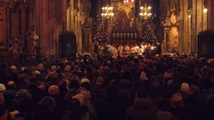 VIENNA, AUSTRIA - DECEMBER, 24 Christmas mass in Saint Stephen's Cathedral. 4K Stock Footage