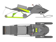 Snowmobile side and top view 3d rendering Piirros