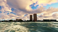 Tranquille scene,city harbour zoom in from the sea Stock Footage