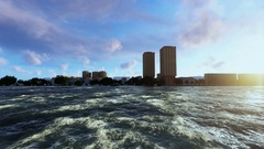 Cruise ship navigating,city harbour at the background Stock Footage