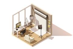 Vector isometric low poly Photo studio room icon Stock Illustration