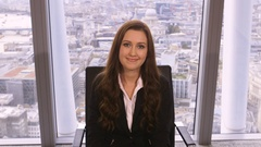4K Bored businesswoman on video call in corporate city office Arkistovideo