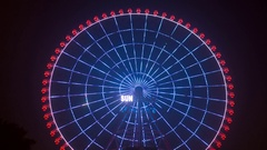 HA LONG, VIETNAM - OCTOBER 13, 2016: Ferris wheel spinning at night. The magical Stock Footage