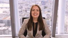 4K Happy businesswoman making video call in corporate office with city view Arkistovideo