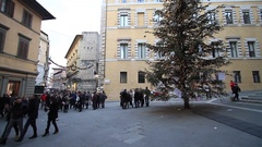 Monte dei Paschi Bank in Piazza Salimbeni with Christmas tree Stock Footage