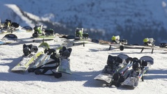 Skiing on the slopes Stock Footage