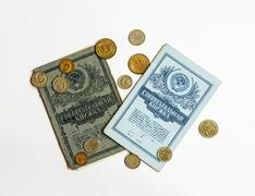 Savings book and the cash used as a payment system in the Soviet Union Stock Photos