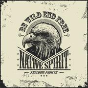 Native spirit poster with eagle Stock Illustration