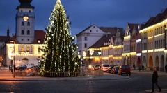Traffic in the historic town in the Christmas time. Town of Zatec, Czech. Stock Footage