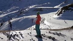 Skier on the ski slopes Stock Footage