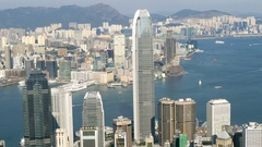 HONG KONG Central with IFC tower & cityscape day Stock Footage
