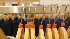 Clothes on Hangers Close Up Stock Footage