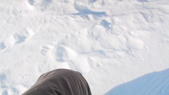 Point of view men walking in the snow with ski boots Stock Footage