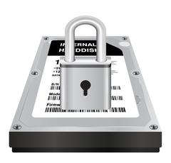 Real 3d internal harddisk storage with a steel master lock protect data Stock Illustration