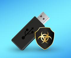 Usb flashdrive with a protection shield antivirus computer Stock Illustration