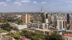 Panning shot of downtown Nairobi, all building names and logos have been removed Stock Footage