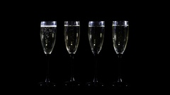 Foer of-champagne glasses vith alpha Chunnel Stock Footage