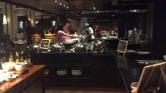 Luxury hotel breakfast buffet chefs Stock Footage