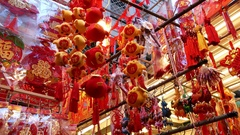 Chinese Lunar New Year red hanging decorations Stock Footage
